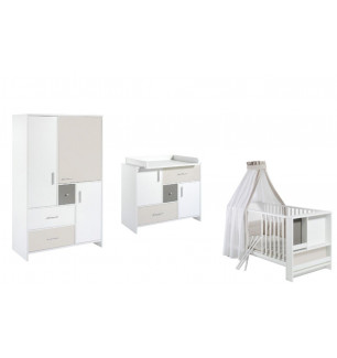 Chambre Candy : lit kit-transformation commode armoire 3 portes Schardt BamBinou