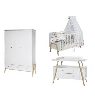Chambre HOLLY NATURE : lit kit-transfo commode armoire