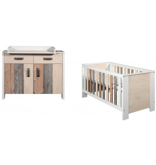 Chambre Woody : lit kit-transformation commode Schardt BamBinou