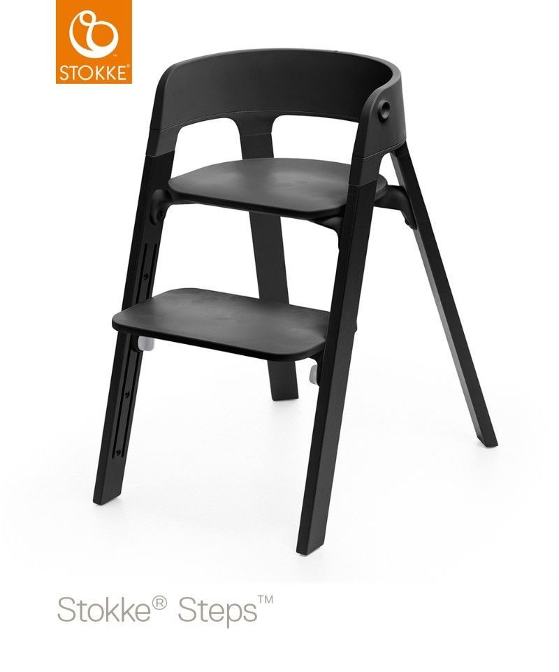 chaise haute steps pieds bois ch ne stokke bambinou. Black Bedroom Furniture Sets. Home Design Ideas